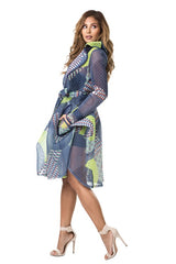 Blue and Lime Mesh Blazer/ Coat