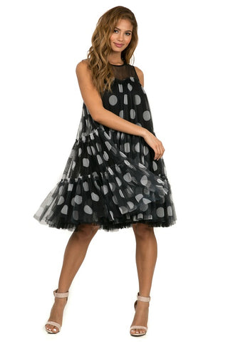 Polka Dot Mesh Sheer Dress