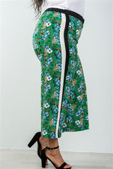 Curvy7 Green Floral Striped Wide Leg Trousers