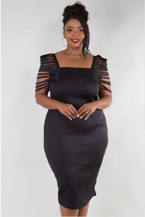 Black Bandage Sleeve Dress Curvy7