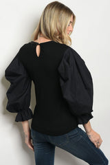 Black Bouffant Sleeve Top