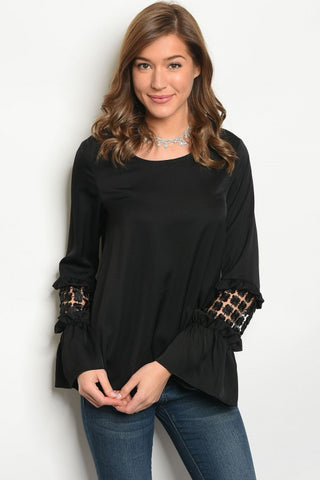 Black Crochet Cuff Top