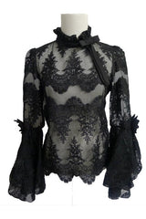 Black Lace Bell Sleeves Top