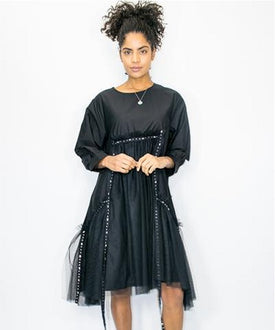 Samantha Tulle Black Tassel Dress