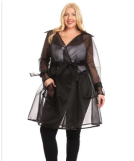 Curvy7 Black Mesh Coat
