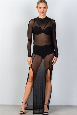 Double Slit Black Sheer Bodysuit/Top
