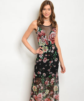 Black Sheer Floral Dress