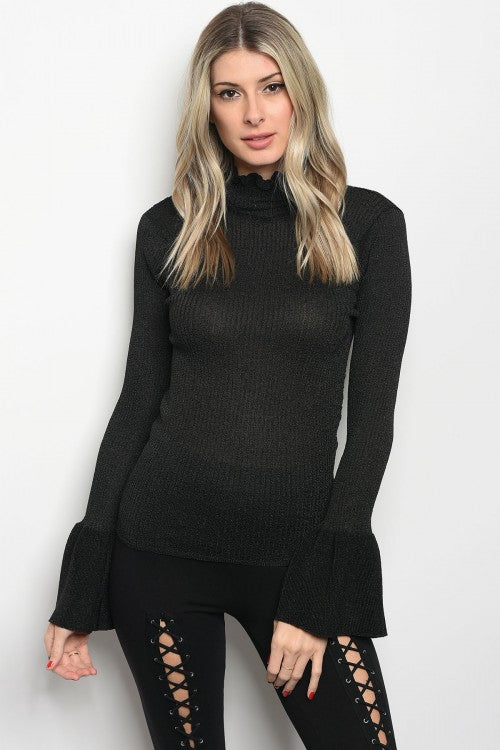 Black Ruffle Turtleneck