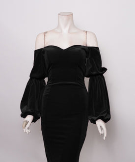 Black Velvet Sweetheart Dress