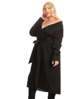 Curvy7 Black High-Split Wrap Off Shoulder Top