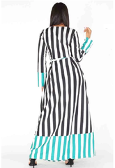 Curvy7 Contrasting Stripes Wrap Maxi Dress/Duster