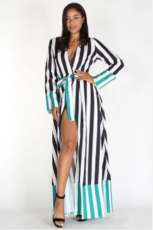 Contrasting Stripes Wrap Maxi Dress/Duster