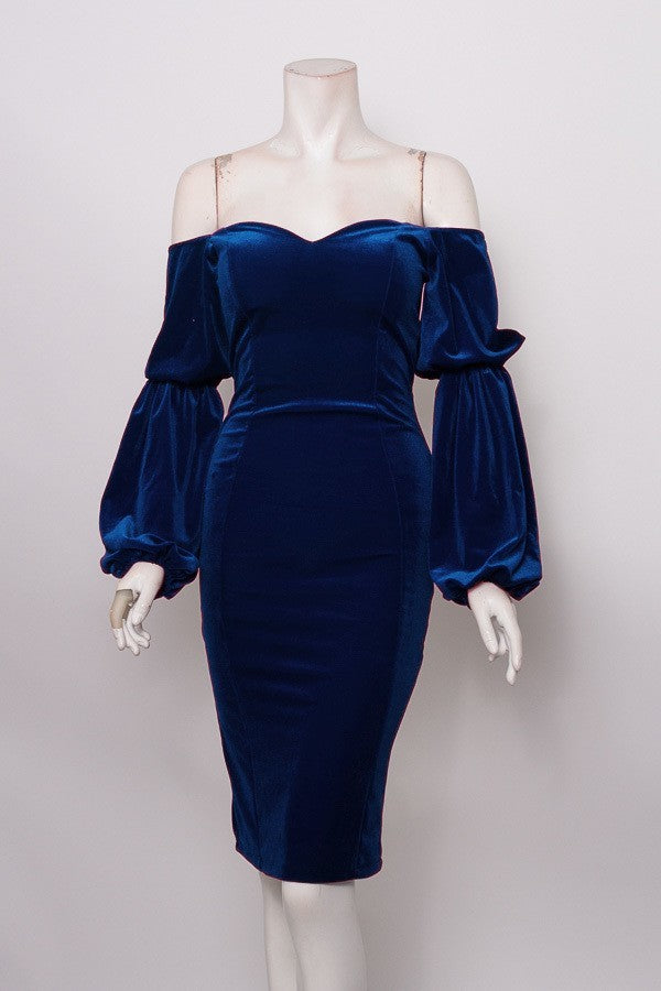 Blue Velvet Sweetheart Dress