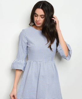 Blue and White Stripes Poplin Dress