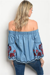 Denim Off Shoulders Red & Blue Stitch Top