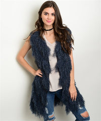 Navy Faux Fur Cardigan