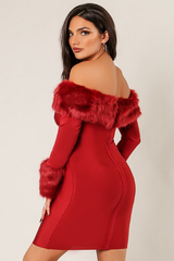 Burgundy Faux Fur Trim Bandage Dress