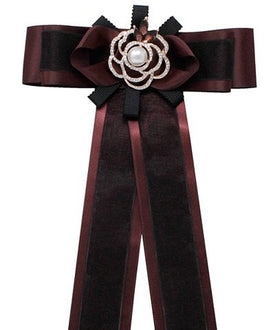 Burgundy and Black Brooch Bow