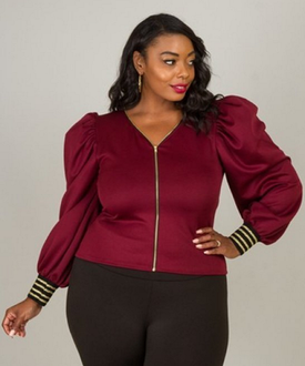Curvy7 Burgundy Bouffant Sleeve Top
