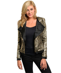 Gold Black Sequins Blazer
