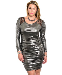 Metallic and Lace Dress Curvy7