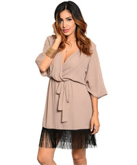 Taupe and Black Fringe Dress