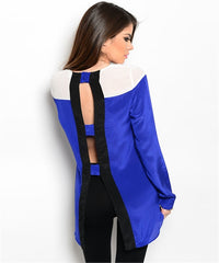 Blue and White Back Top