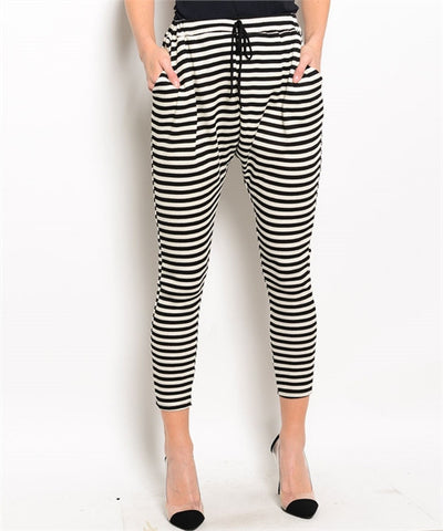 Black and Ivory Stripe Pants