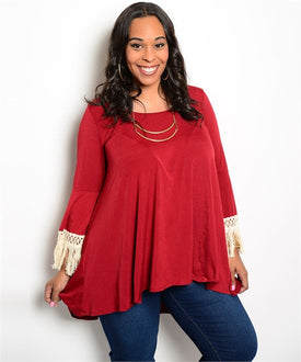 Burgundy and Beige Fringe Top Curvy7
