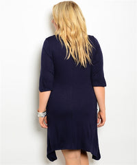Navy Knit Pocket Dress Curvy7