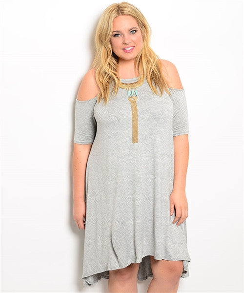 Heather Gray Exposed Shoulder Dress Curvy7