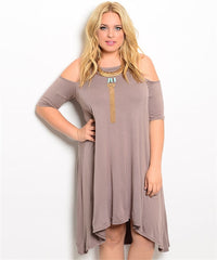 Taupe Exposed Shoulder Dress Curvy7