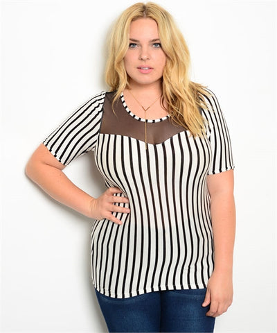 Pinstriped Sheer Accent Top Curvy7