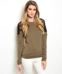 Olive Sheer Shoulder Top