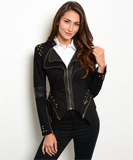 Black Studded Leatherette Blazer