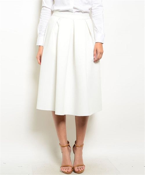 Ivory High Waist Full Midi Skirt