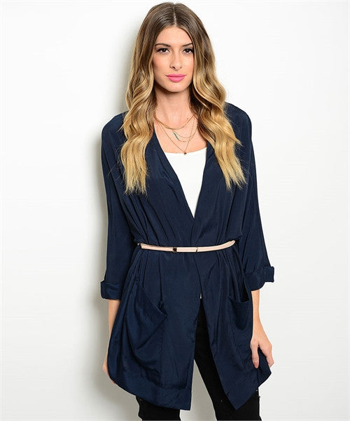 Navy Blue Belted Top