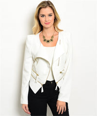 Ivory Blazer with Gold Zippers