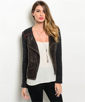 Black Sweater Blazer with Exposed Red Stitch