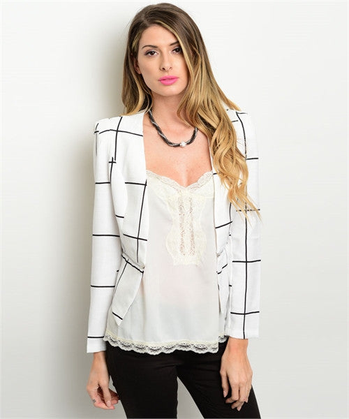 White and Black Stripe Blazer