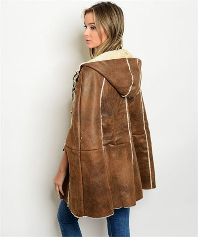 Camel Leatherette Hooded Poncho Coat