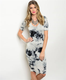 Black Gray Tie-Dye Dress