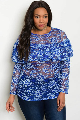 Royal Blue Ruffled Lace Top Curvy7