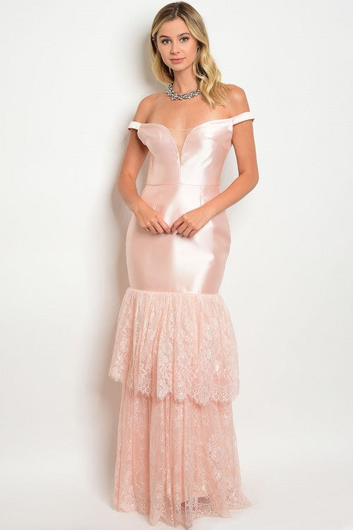 Blush Pink Taffeta Lace Mermaid Dress