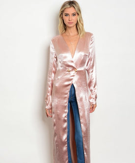 Blush Pink Satin Finished Duster
