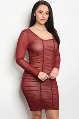 Curvy7 Sheer Burgundy Bodycon