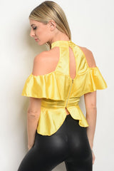 Yellow Lace Inlay Off-Shoulder Top