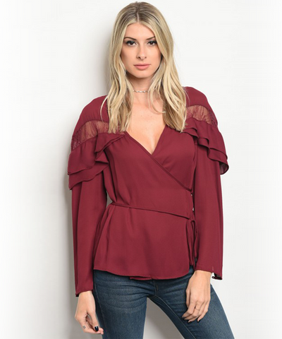 Burgundy Lace  Wrap Top
