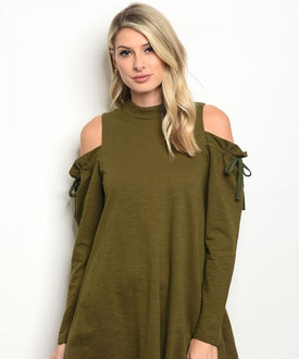 Olive Cold Shoulder Drawstring Top/Dress