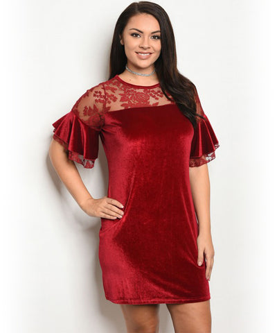 Burgundy Flare Lace Dress